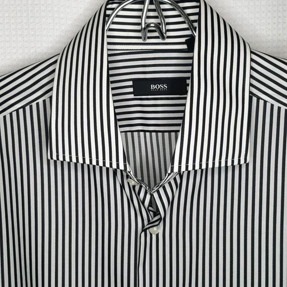 NEW HUGO BOSS Men's 16.5 Black White Striped Shirt